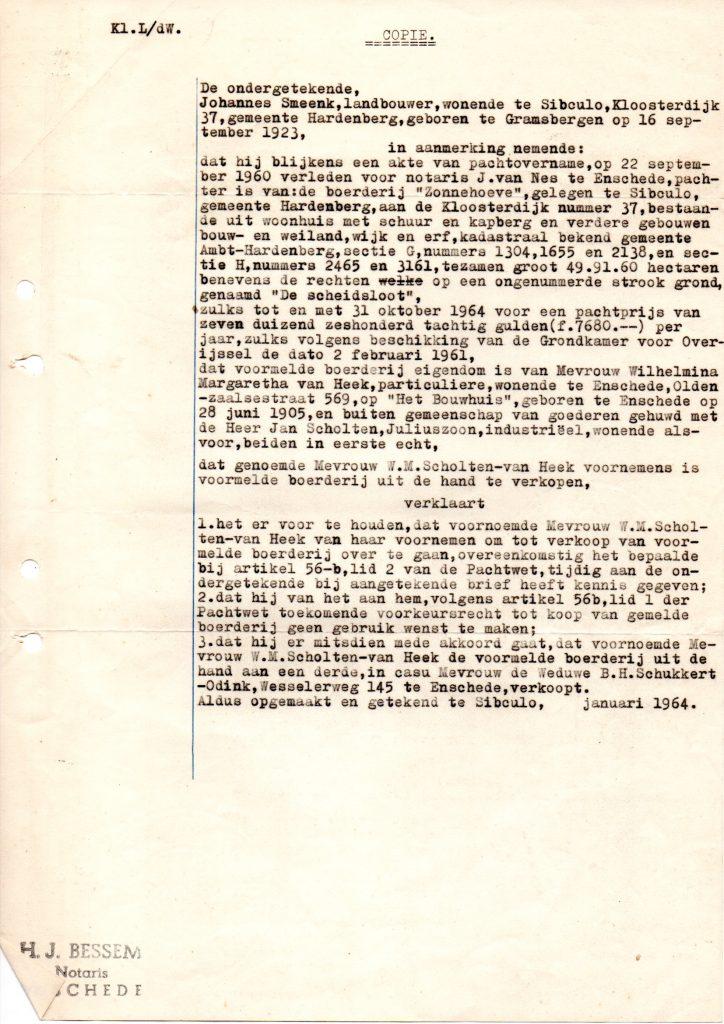 """1964 Aankoop Boerderij """"Zonnehoeve"""" Door de Fam. Schukkert"""